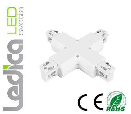 Križni konektor za 3-fazni tračni sistem beli